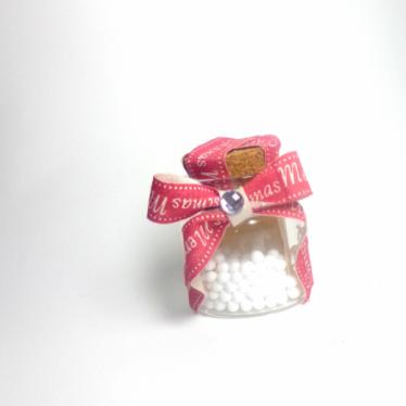 Εικόνα 2 για Γούρι γυάλινο μικρό μπουκαλάκι με ευχή, Cristmas Ribbon