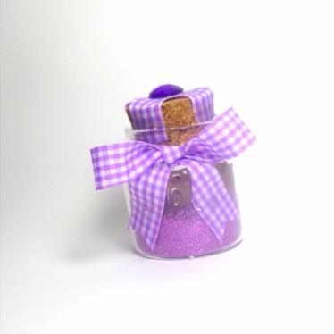 Εικόνα 2 για Γούρι γυάλινο μικρό μπουκαλάκι με ευχή,  Λιλά καρό