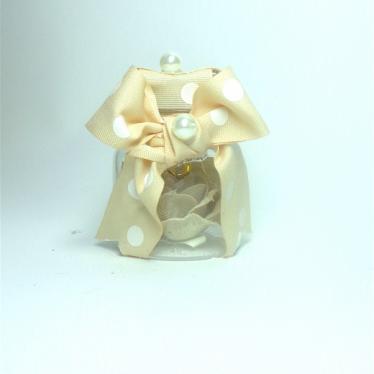 Εικόνα 2 για Γούρι γυάλινο μικρό μπουκαλάκι με ευχή, Μπεζ πουά