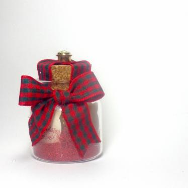 Εικόνα 2 για Γούρι γυάλινο μικρό μπουκαλάκι με ευχή, Πράσινο κόκκινο καρό