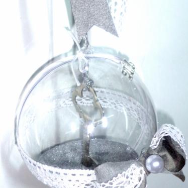 Εικόνα 2 για Γούρι μεγάλη διάφανη μπάλα Κλειδί ασημένιο
