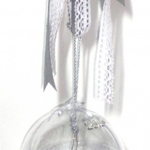 Εικόνα για Γούρι μεγάλη διάφανη μπάλα Κλειδί ασημένιο