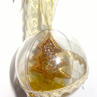 Εικόνα 2 για Γούρι μεγάλη διάφανη μπάλα Χρυσό Δεντράκι