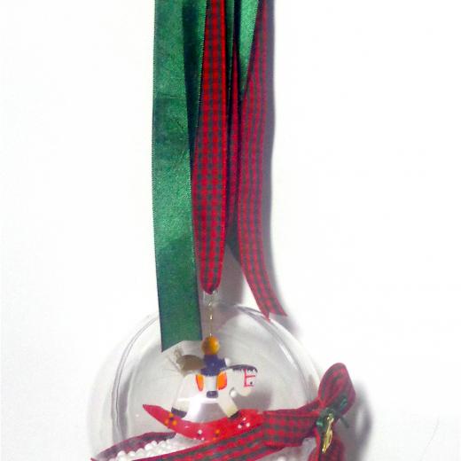 Εικόνα για Γούρι μεγάλη διάφανη μπάλα Ξύλινο Αλογάκι