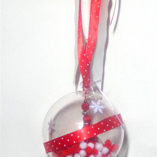Εικόνα για Γούρι μεγάλη διάφανη μπάλα Κόκκινη Φούντα