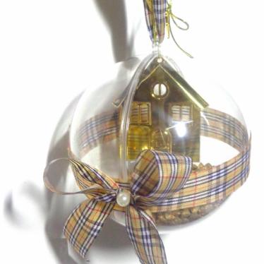 Εικόνα 2 για Γούρι μεγάλη διάφανη μπάλα Χρυσό Σπίτι