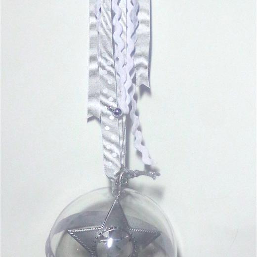 Εικόνα για Γούρι μεγάλη διάφανη μπάλα Ασημί Αστέρι Μεταλλικό
