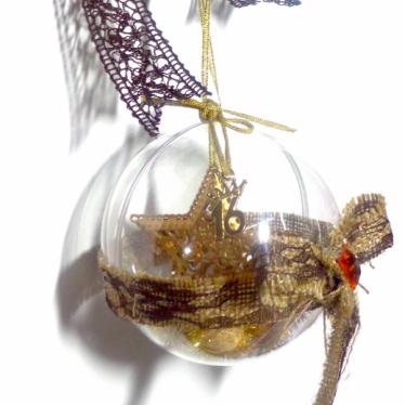 Εικόνα 2 για Γούρι μεγάλη διάφανη μπάλα Χρύσο αστέρι μεταλλικό