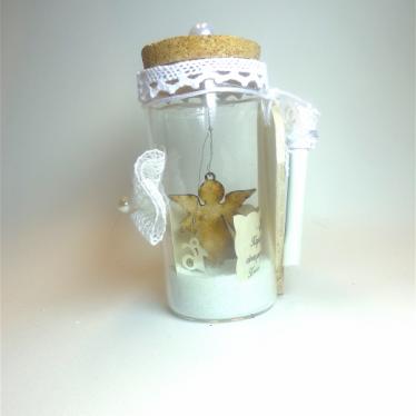 Εικόνα 2 για Γούρι βάζάκι Άσπρη Δαντέλα Αγγελάκι  με ευχή